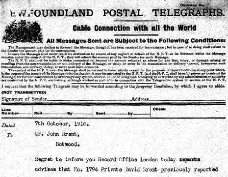 TELEGRAM - SOLDIER KILLED